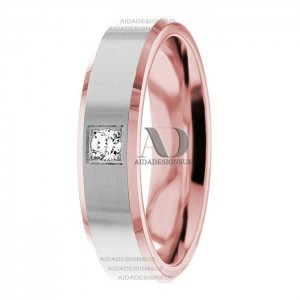 DW9AD200 Rose Gold Two Tone Diamond Wedding Band