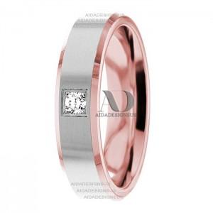 DW9AD200 Rose Gold Two Tone Diamond Wedding Band