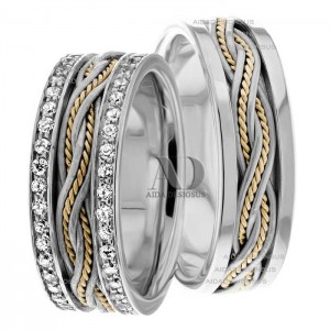 Two Tone Matching Wedding Bands