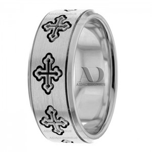 White Black Religious Wedding Band